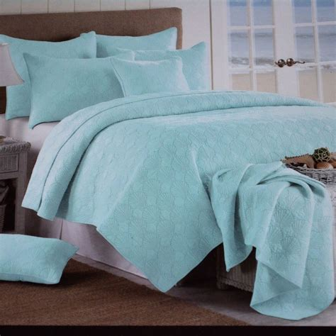 coastal quilts and coverlets beach house coastal seashell aqua blue green king 3pc