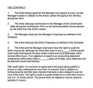 management contract template 4 artist management contract templates free pdf word