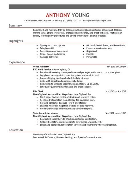 Resume Skills Highlights 17 Best Ideas About Office Assistant On