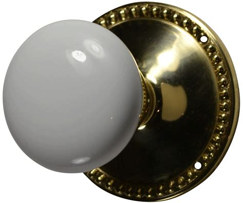 Porcelain Door Knob Sets by Solid Brass Beaded Style White Porcelain Door Knob Set