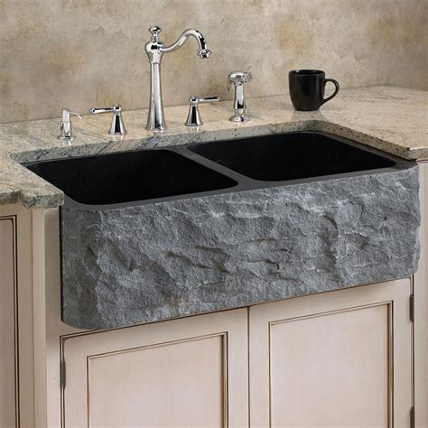 Marble Kitchen Sink Polished Granite Farmhouse Sink Chiseled Front Kitchen