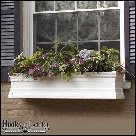 vinyl window boxes vinyl flower boxes hooks lattice - Vinyl Window Flower Boxes