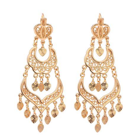 Women 18k Gold Plated Three Row Love Heart Chandelier Chandelier Jewelry