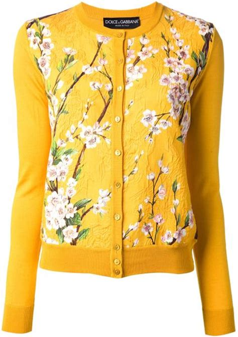 Set 2in1 Cardigan Yellow Floral dolce gabbana floral print cardigan in yellow yellow