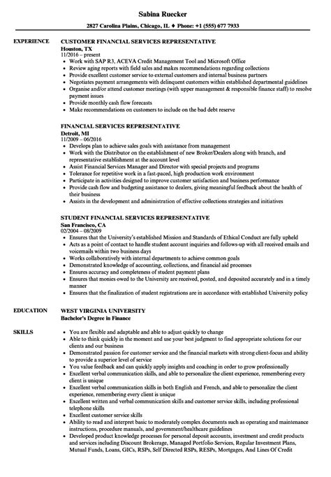 financial services representative resume sles velvet
