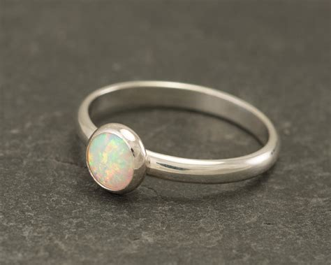 opal ring silver opal ring solitaire ring opal engagement