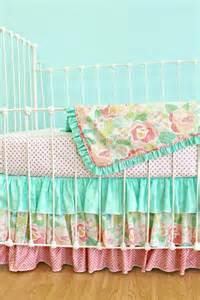 coral damask and ruffles crib bedding set