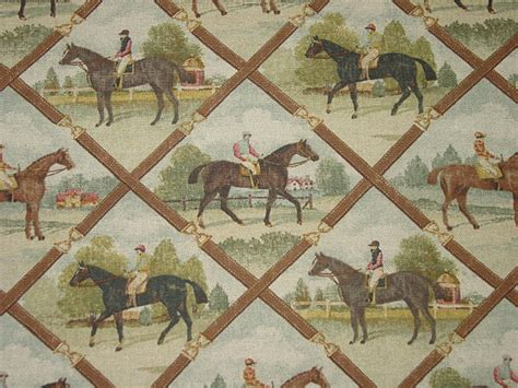 Equestrian Upholstery Fabric Horse And Rider Equestrian Fabric Oop