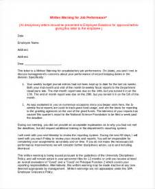 Warning Letter Template For Poor Performance warning letter template 10 free word pdf document