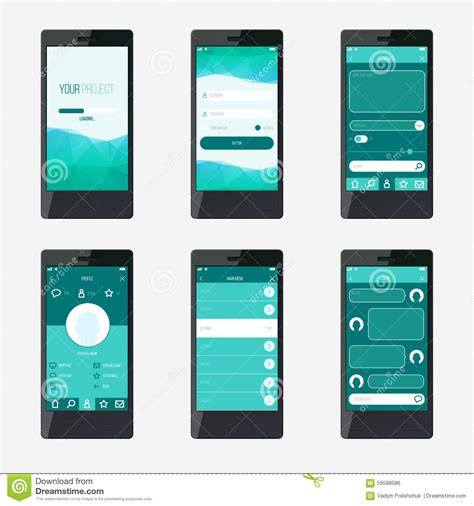 app design document template template mobile application interface design stock vector