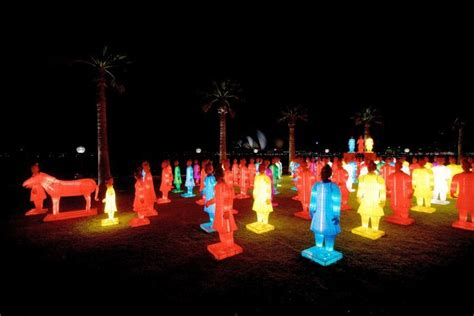 new year warrior lanterns terracotta warriors lit up on sydney harbour for
