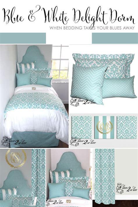 college dorm comforter canal blue white delight designer dorm bedding set