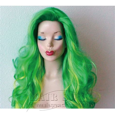 Wig Hairladies 21 green ombre wig gaga hair inspired curly color hair gradually change to lime