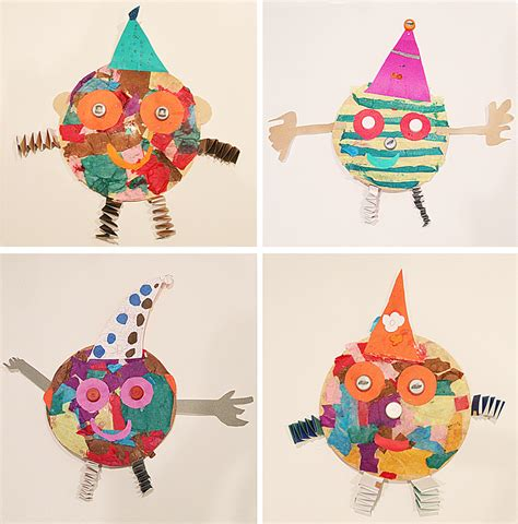 purim crafts for tissue paper collage clowns with bottle cap for