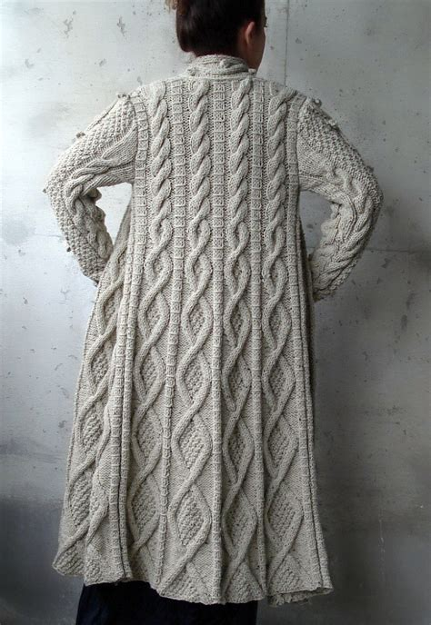 knitting pattern long cardigan beige cable long knitted coat cardigan