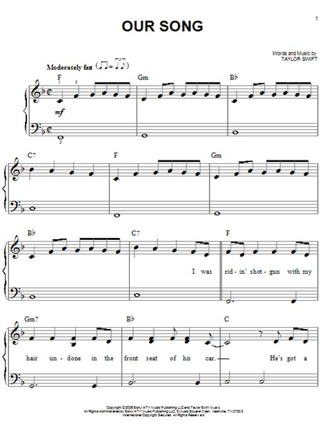 Or Song Our Song Sheet By Easy Piano 69788