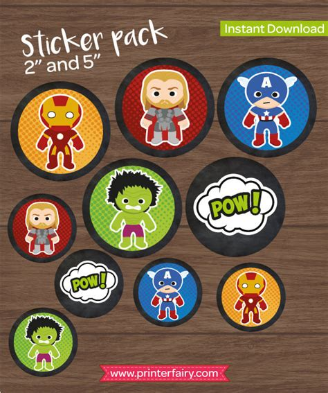 printable marvel stickers superhero stickers printable avengers cupcake toppers cake