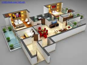 Home Plans With Apartments Attached 17 Three Bedroom House Floor Plans Plan Houses Type 45 One