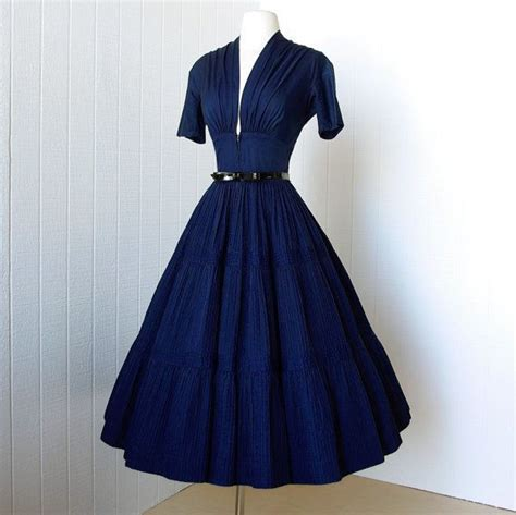 cabaret vintage vintage clothing vintage style dresses vintage 1940 s dress vavavoom forties navy cotton full