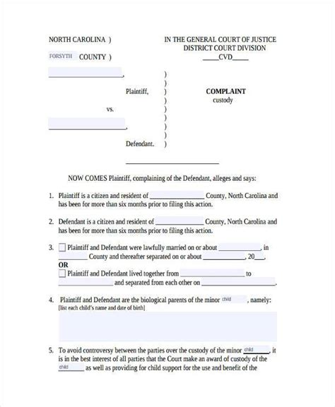 template of custody agreement sle custody agreement forms 8 free documents in word