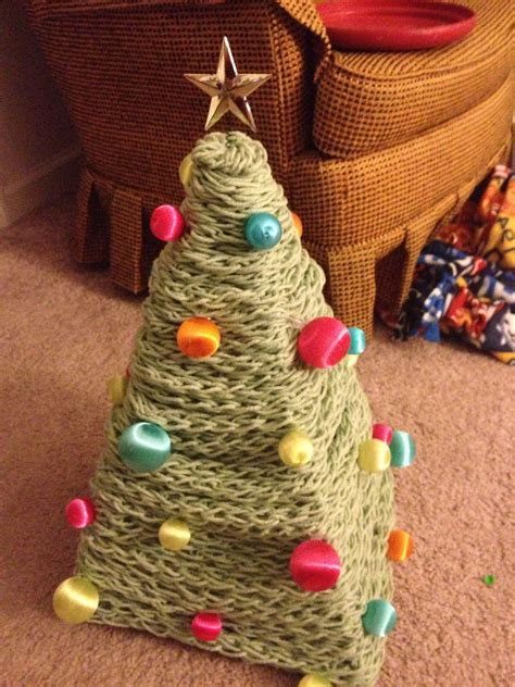 christmasbtrees out of hangers make your own tree out of yarn wire hangers and mini ornaments diy