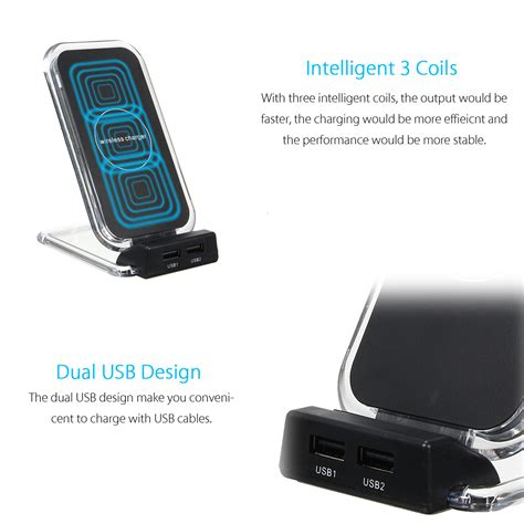 Wireless Desktop Stand Charger Fast Charging Scienorm N1 Qi Original 3 coils dual usb ports fast charging desktop stand qi wireless charger for samsu ebay