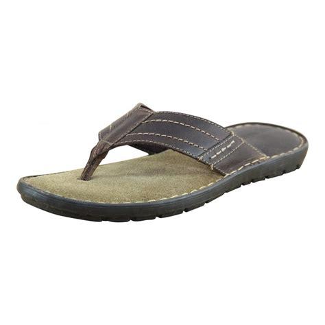 slip in sandals mens leather brown flip flops toe post slip on