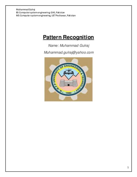 pattern recognition c pattern recognition 1 gulraj