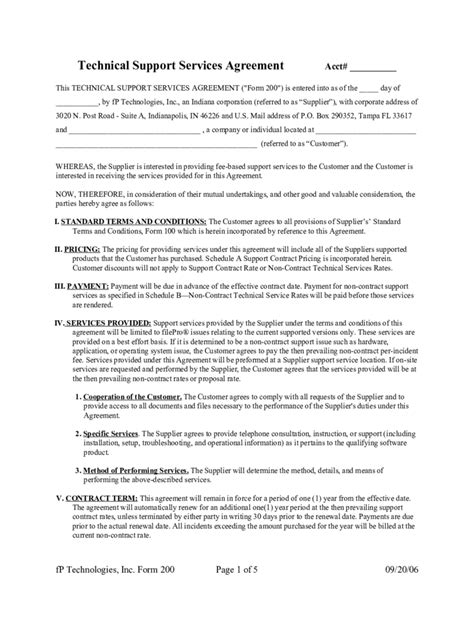 technical support agreement template service contract template 12 free templates in pdf word