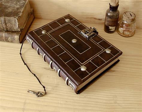 antiqued leather journal  lock  key secret words
