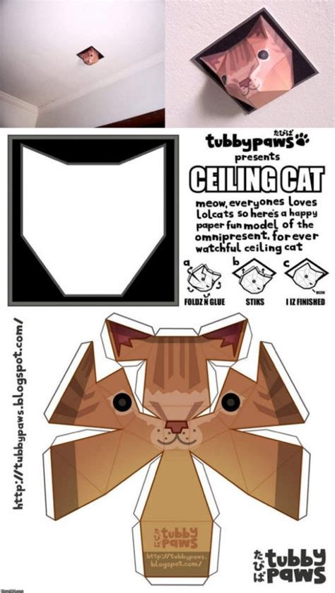 Tubbypaws Papercraft - ceiling cat papercraft by tubbypaws