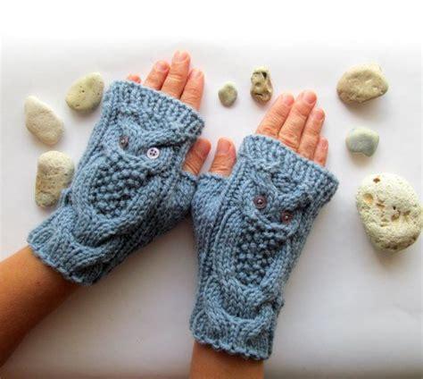 owl fingerless gloves knitting pattern chunky hand owl denim blue hand knit cable pattern fingerless by