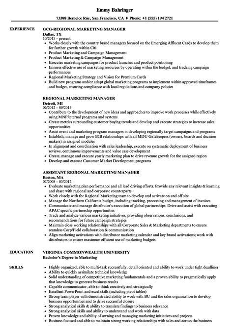 regional marketing manager resume sles velvet jobs