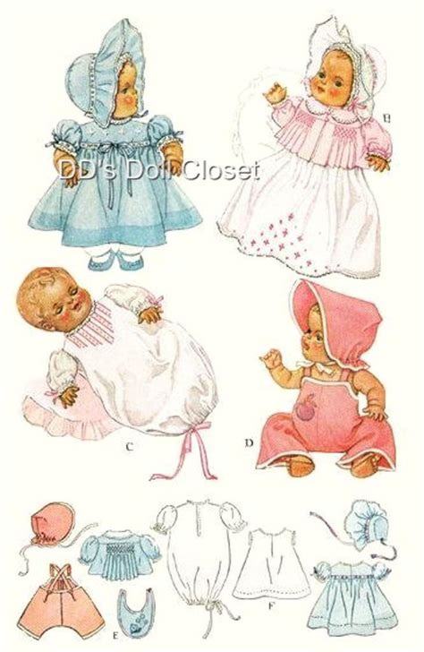 vintage baby doll clothes pattern 713 20 034 dydee ebay