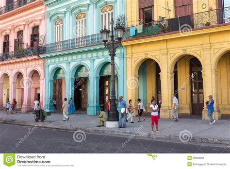 American House Design And Plans people in a colorful street in havana cuba editorial