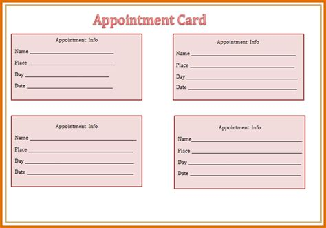 appointment card template free 8 appointment card templatereference letters words