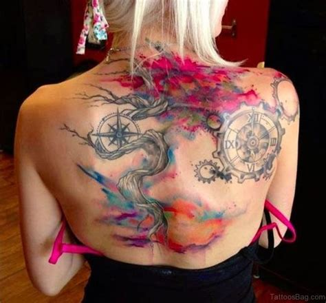 watercolor tattoo upper back 46 fancy compass tattoos for back