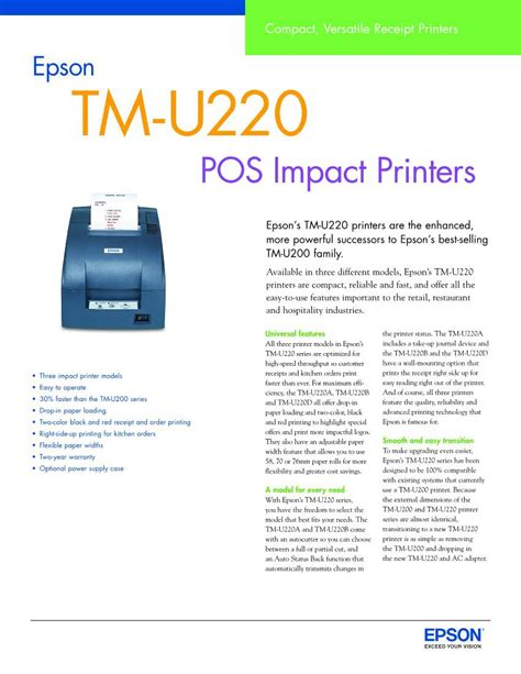 Epson Printer Tm U220d Tm U220 D Usb Port Non Auto Cutter epson tm u220d driver xp usb