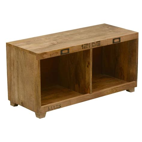 bench w anchors away mango wood coffee table bench w open cubbies