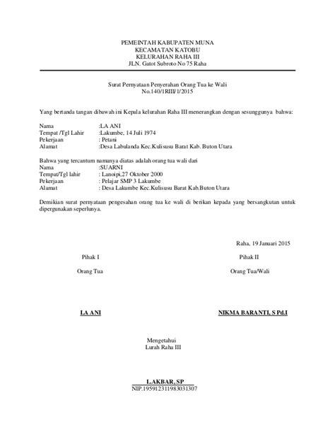 format surat keterangan wali surat pernyataan penyerahan orang tua ke wali