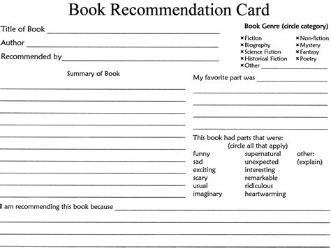 Book Review Card Template by The Ultimate Book Report Miss Musings