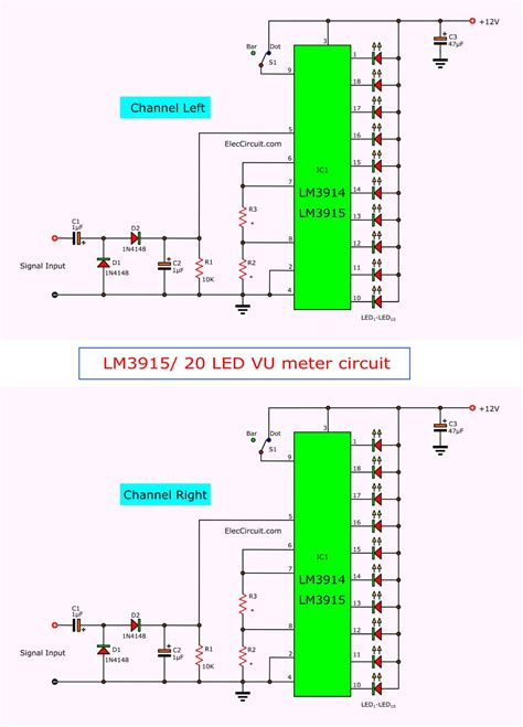 vu meter circuit stereo  led  pcb eleccircuitcom