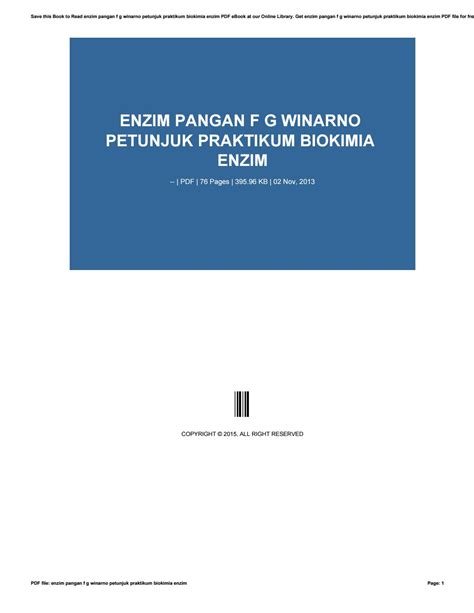 F G Winarno enzim pangan f g winarno petunjuk praktikum biokimia enzim