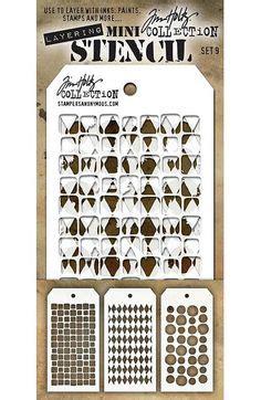 Dijamin Stencil Mini 3 artist trading card by dimmock using darkroom door butterflies rubber st set http
