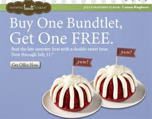 nothing bundt cakes buy one bundtlet get one free 3 99 value coupon crazy mommy