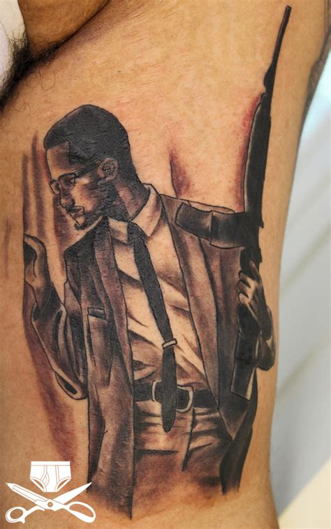x tattoos black and gray malcolm x hautedraws