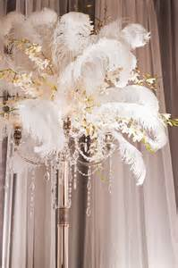 feather and flower centerpieces cloud 9 weddings papers 1920 s inspired vignette at
