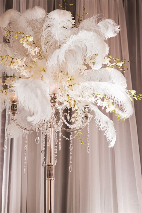 feather centerpieces cloud 9 weddings papers 1920 s inspired vignette at be five