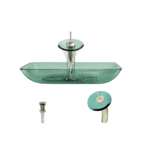 mr direct sinks and faucets mr direct glass vessel in emerald with waterfall