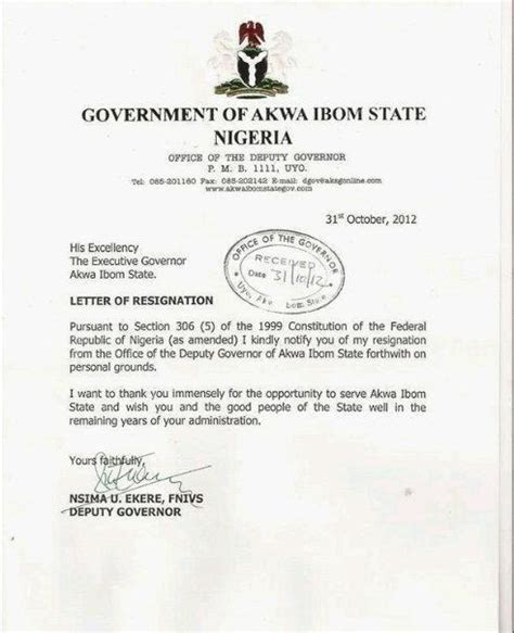 Immediate Resignation Letter Going Abroad Akwa Ibom S Deputy Governor Resignation Letter Politics Nigeria